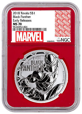 2018 Tuvalu Black Panther 1 oz Silver Marvel $1 NGC MS70 ER Red Core SKU52249