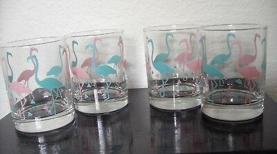 4 FLAMINGO Short Drinking GLASSES-Pink and Blue