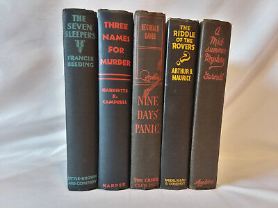 Lot of 5 antique vintage decorative 1920s-1940s black MYSTERY NOVELS Mysteries