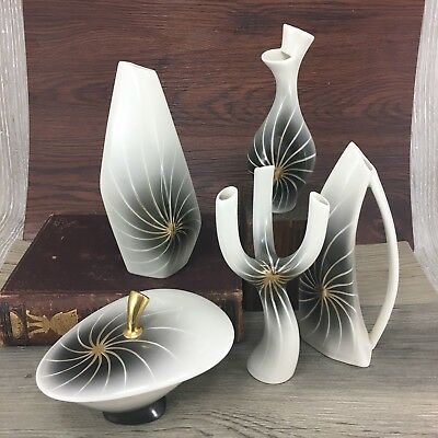 5 Vintage Midcentury Modern Vase Bowl Lot Retro 1950s 1960s Abstract MCM Atomic