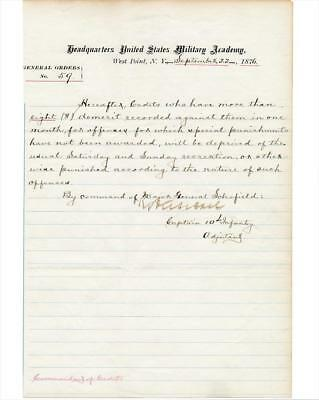 1876 General Order Manuscript- West Point Academy