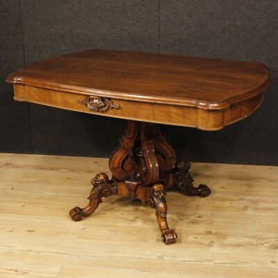 Antique table living room French furniture wood walnut antiquity style XIX 800