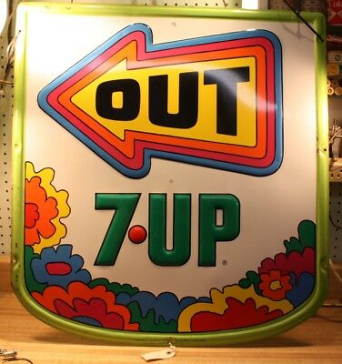 RARE Vintage 1970 Psychedelic Hippie 7-UP Soda Advertising Metal Sign