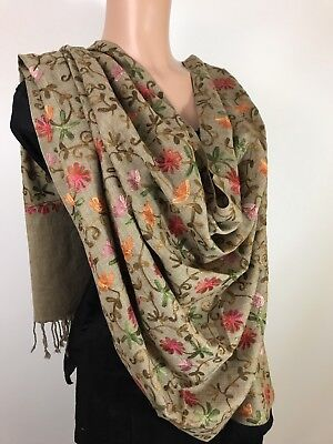 $27 Pashmina  Hand-Embroidered  Kashmiri Shawl Embroidered  Indian  Stole Gold