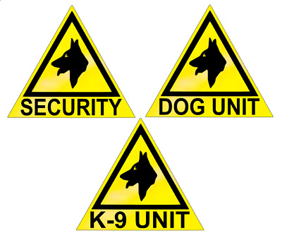 3 X LARGE REFLECTIVE DOG UNIT/K9 UNIT/SECURITY VEHICLE STICKERS/ MAGNETS (dut1)