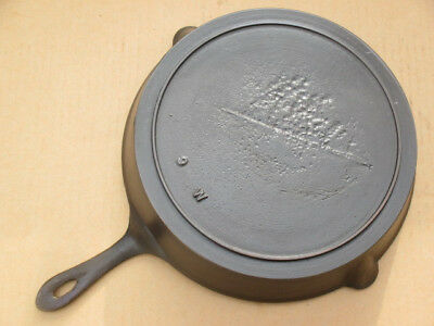 Antique Gate Marked No, 9 Cast Iron Heat Ring Skillet, Lightly Seasoned