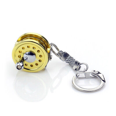 New Cool Fly Fishing Reel Miniature Novelty Gift Charm diameter 25 mm Key OH