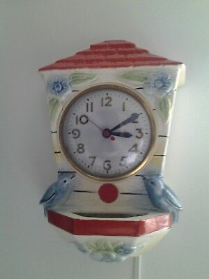Hull Pottery 1940's Bluebird Wallpocket Clock/Working/Price Reduced