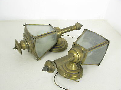 Vintage pair of Brass carriage porch matching wall mount lights lantern / Sconce