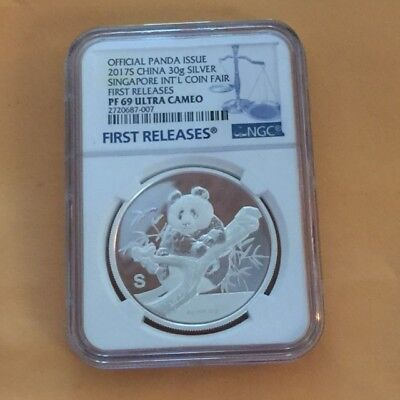 Official Issue 2017 S  Singapore Int'l Coin Fair First Releases Proof 69 UC