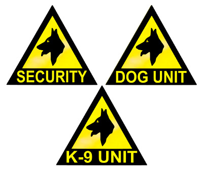 3 X LARGE REFLECTIVE DOG UNIT/K9 UNIT/SECURITY VEHICLE STICKERS/ MAGNETS (dut2)