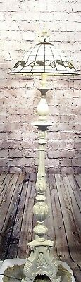 Antique Vintage Ornate Floor Lamp Beige Stained Glass Shade Rewired Restored