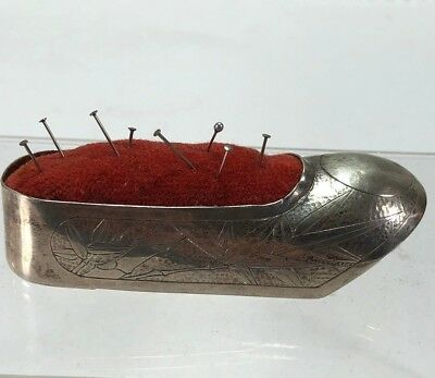 Antique Chinese Japanese Pure Silver Ornate Bamboo Design Shoe Shape Pin Cushion