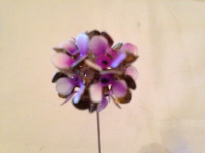 Antique Hat Pin – Pink Enameled Flower With Rhinestones -  Beautiful Hat Pin