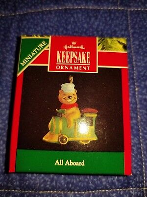 "Vintage 1991 Christmas Miniature Hallmark Ornament, ""all Aboard"" ~Nib"