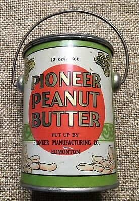 Vintage Pioneer Peanut Butter Tin With Bail Great Color Collectable Edmonton