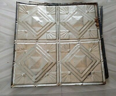 "Vintage Pressed Tin Ceiling salvaged reclaimed tiles silver 24"" diner art deco"