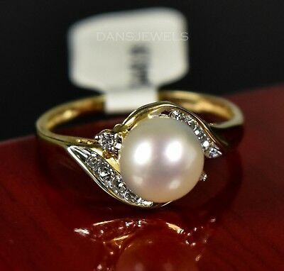 Estate Solid 10K YELLOW Gold PEARL & Diamond Ring Size 6.5