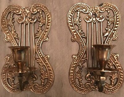 Vintage Pair Solid Brass Wall Candle Sconce Single Holder Made In INDIA
