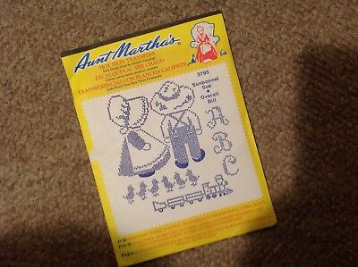 NEW Aunt Martha's hot iron transfers .  SUNBONNET SUE OVERALL BILL    ...   3795