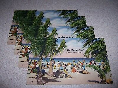 "1940s ""ITS FUN to SUN"" at MIAMI BEACH FLORIDA UNUSED LINEN POSTCARD LOT"