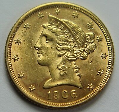1906-D BU Gold Liberty Head Five Dollar $5 Gold Half Eagle Old US Coin NR W011