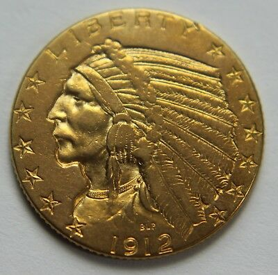 1912-P BU Gold Indian Head Five Dollar $5 Gold Half Eagle Old US Coin NR W029