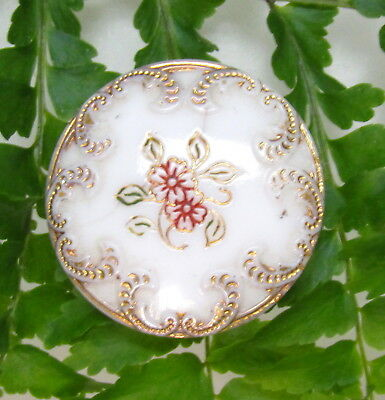 Pretty Art Nouveau Glass Button With Gold & Red Floral Design J59