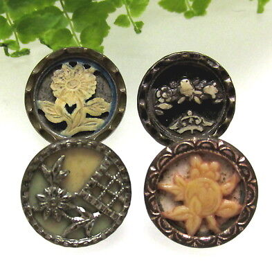 4 Victorian Ivoroid Buttons With Different Designs J77