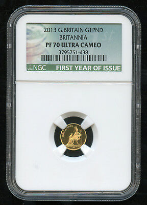 2013 G.Britain Gold £1 G1PND Britannia NGC PF 70 Ultra Cameo First Year Label #2