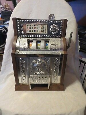 Slot Machine Bank Vintage Silver Eagle As Is 1977 Poynter Not Working