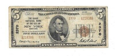 1929 $5 Chase National Bank Of The City Of New York Charter # 2370
