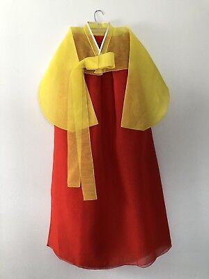 Authentic Korean Hanbok Dress, Great Quality Fabric, Made In Korea, Yellow, Red