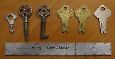 Vintage Lot Skeleton Key Collection Old Antique Clock Safe x6