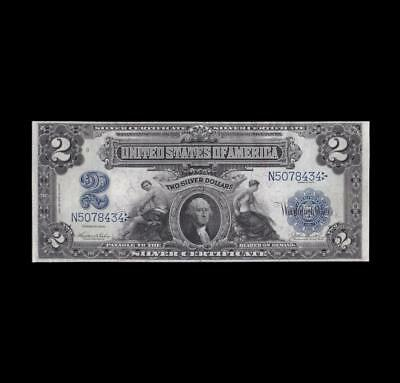 1899 $2 Silver Certificate Mini Porthole Almost Uncirculated