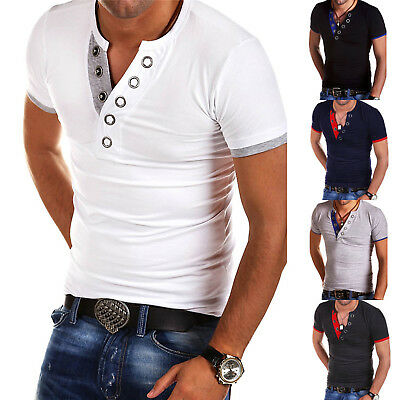 Mens Slim Fit Stylish T Shirt Short Sleeve Casual T-Shirt Luxury Tee Tops Blouse