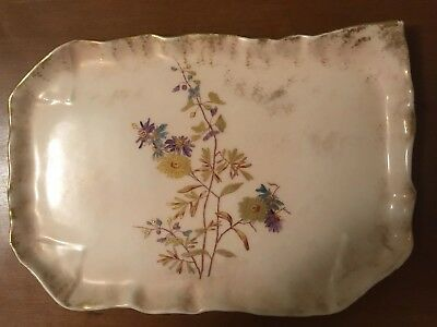 Antique Phl Limoges France Rectangular Plate / Tray - Hand Painted W/ Gold Gilt
