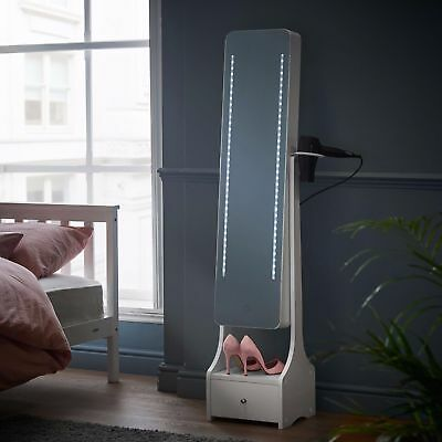 Free Standing Mirror Cabinet White Led Lights Jewellery