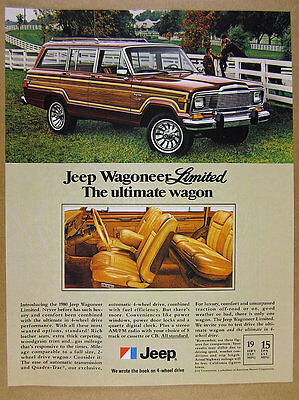 1980 AMC Jeep Wagoneer Limited interior exterior color photos vintage print Ad