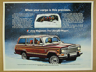 1980 AMC Jeep Wagoneer mom kids driving in snow photo vintage print Ad
