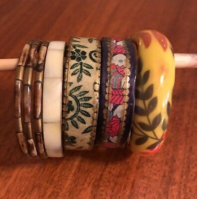 Mixed Bangle Bracelet Lot Of 6 Bakelite ?mother Of Pearl? Vintage Wooden Painted