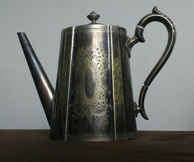 Beautiful antique metal engraved teapot with bone inlay at handle