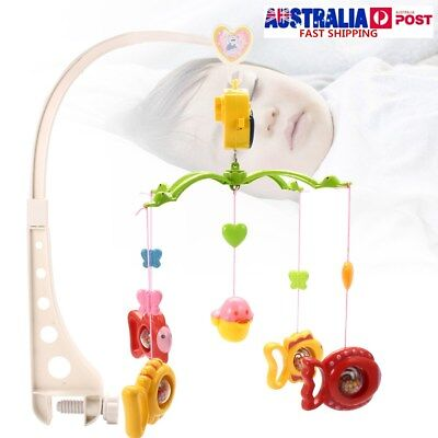 Baby Musical Bed Cot Mobile Bell Hanging Fish Rattle Bracket Nusery Cartoon Toys