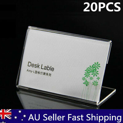 20pcs 9cmx6cm Acrylic Sign Display Holder Label Price Name Card Tag Shop Stands