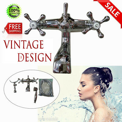 2 Handles Vintage Chrome Clawfoot Bath Tub Bathroom Faucet with Hand Sprayer USA