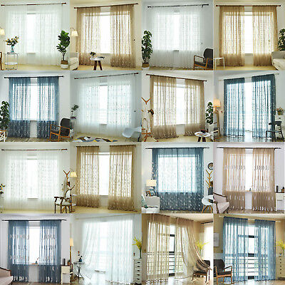 Floral Valance Scarf Voile Sheer Elegant Curtain Window Door Drape Home Decro