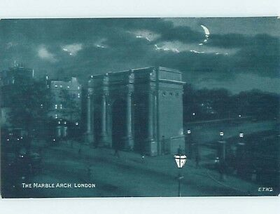Unused Old Postcard MARBLE ARCH Night View Of London England UK F5344