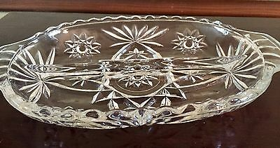 Vintage EAPG Prescut Anchor Hocking Star of David Glass Divided Relish Dish