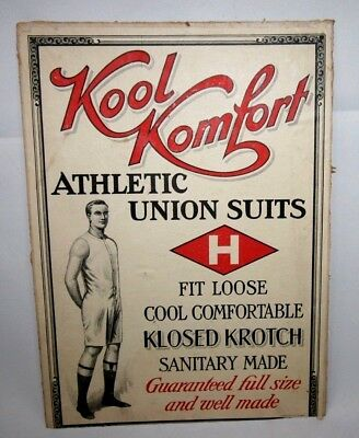 RARE! 1920's Kook Komfort Athletic Union Suits Cardboard Sign Measuring 9.5 x 13