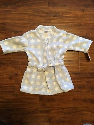 Carters  Baby Blue Bath Robe With White Stars Size Os Cotton New With Tags